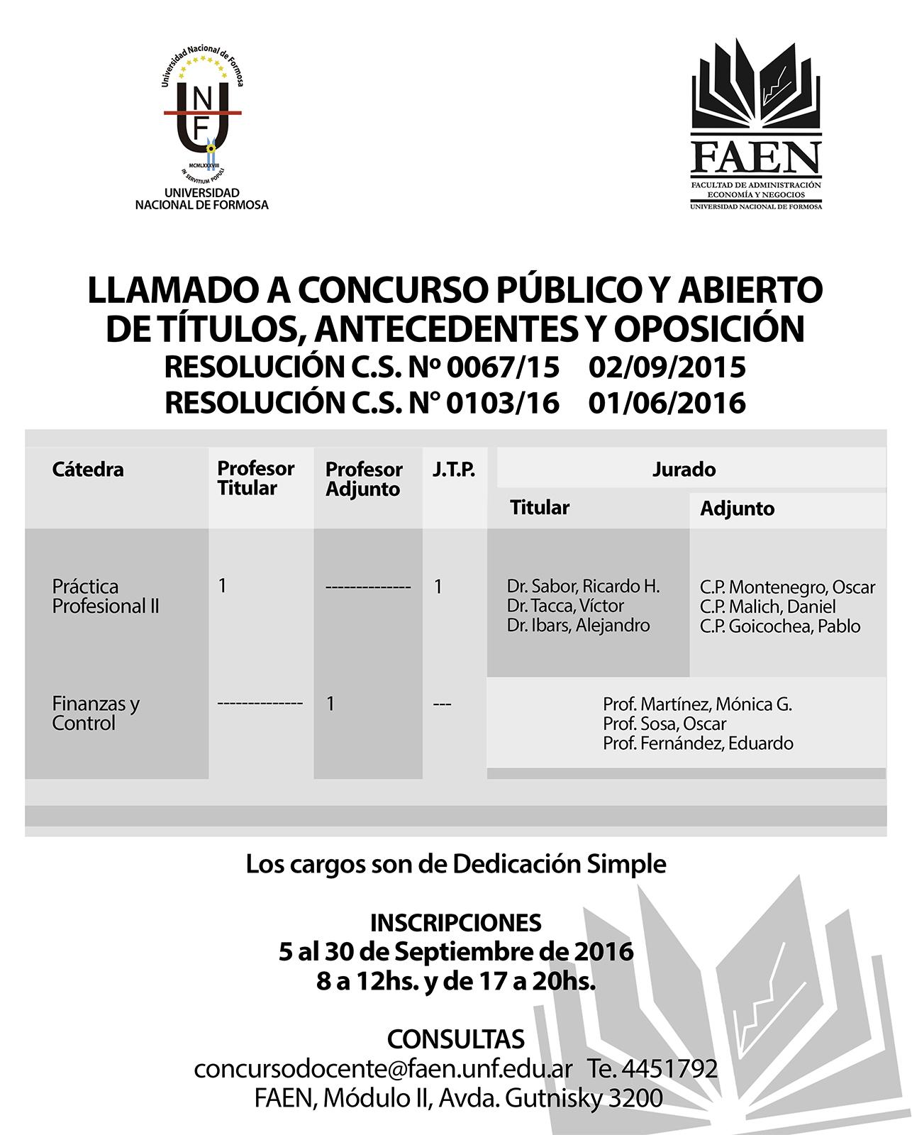 Llamado concurso docente faen resol c s 103 16 for Concurso docentes exterior